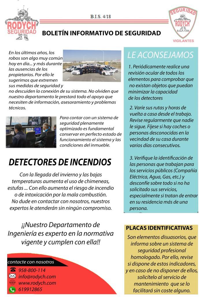 BOLETÍN INFORMATIVO DE SEGURIDAD 4 TRIMESTRE 2018